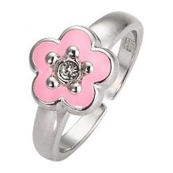 Sada stříbrných šperků pro nejmenší Náhrdelník + náušnice + prsten, Růžový květ
