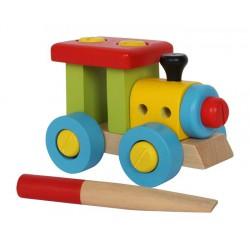 Dřevěný Konstrukční vlak se šroubovákem 12 cm