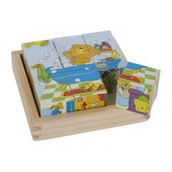 Puzzle z 9 kostek v rámečku Medvěd