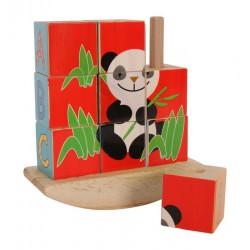 Nasouvací puzzle z 9 kostek Panda