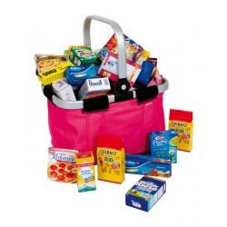 Dětský nákupní košík skládací s nákupem, růžový