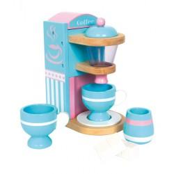Dětský dřevěný Kávovar modro-růžový včetně nádobí