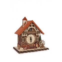 Dřevěné Hrací hodiny s LED světlem - Hrázděný dům