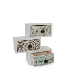 Dekorativní skříňka se 3 zásuvkami Evi, bílá