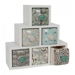 Dekorativní skříňka se 6 zásuvkami, Rita, bílá
