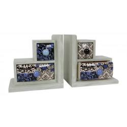 Dekorativní knižní zarážky se 2 zásuvkami, 2 ks v balení