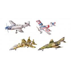 3D Historická letadla, 4 ks v balení