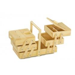 Dřevěný rozkládací box na šití, 3-patrový