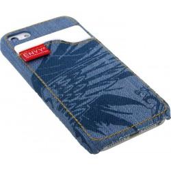 Pouzdro na IPhone 5, kryt džínový s motivem, modrý