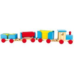 Dřevěný Vlak 90 cm Stavební kostky