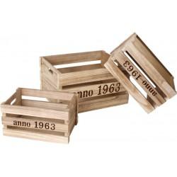 Dřevěný box přírodní, 3 ks různé velikosti