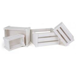 Dřevěné krabice bílé, 4 ks různé velikosti