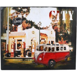Plechová cedule Hippie-Autobus - dekorace Vintage 50 x 60 cm