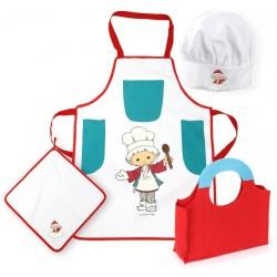 Kostým Kuchař Kuchtík - Dětská kuchařská zástěra, čepice, chňapka v tašce