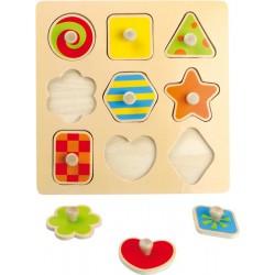 Dřevěné puzzle Tvary, barevné