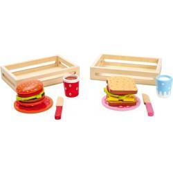 Dřevěné potraviny - Hamburger a sendvič, 2 ks v balení