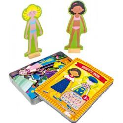 Magnetické oblékání 2 holčiček v kovovém boxu