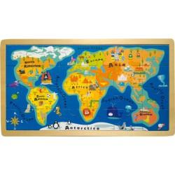 Puzzle Mapa světa v rámu, 24 dílků