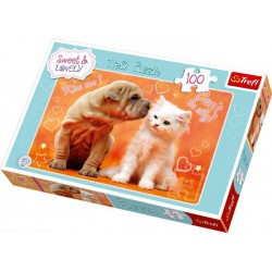 Trefl Puzzle Zvířecí láska, 100 dílků