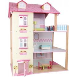 Otočný třípatrový dřevěný domeček pro panenky Růžová střecha