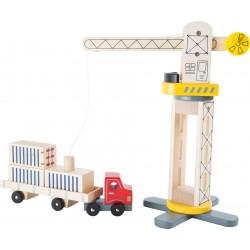 Dřevěný jeřáb a nákladní auto