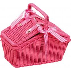 Piknikový koš s nádobíčkem, růžový, 18 dílů