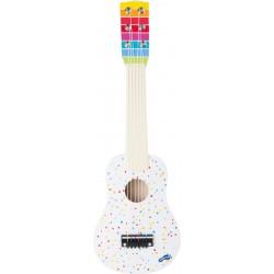 Dětská kytara bílá s puntíky, 53 cm, 6 strun