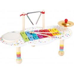 Dětská hudební souprava stolek, bílý s puntíky