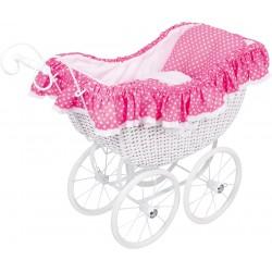 Proutěný kočárek pro panenky, růžový