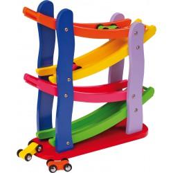 Dřevěná závodní autodráha, barevná
