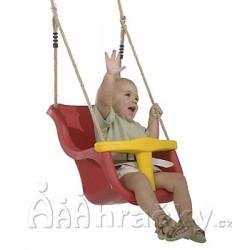 Plastová houpačka pro nejmenší Baby Swing, červeno-žlutá