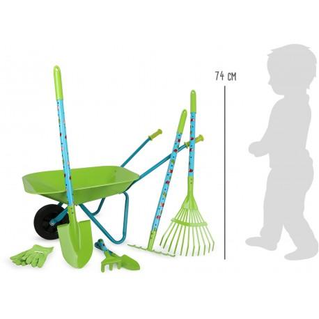 Velký zahradní set dětského nářadí s kolečkem