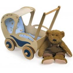 Dřevěný kočárek pro medvídky a panenky