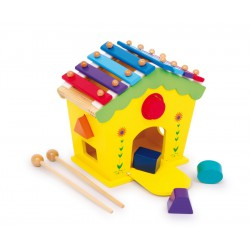 Aktivní domeček se zvuky - vkládačka a xylofon v 1