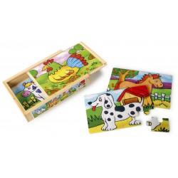Dřevěné Krabičky s dětským puzzle – Zvířátka, 2 ks v balení