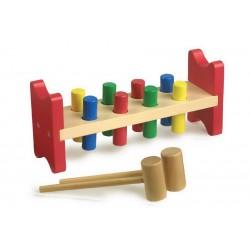 Dřevěná zatloukačka, 8 kolíků, kladívko