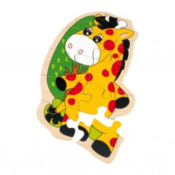 Dřevěné puzzle - Žirafa, 10 dílků