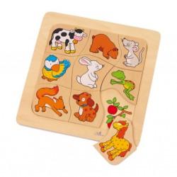 Dřevěné puzzle - Co jí zvířátka