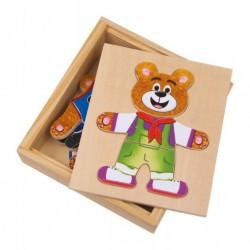 Dřevěné puzzle - Oblékání medvídků