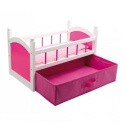 Postýlka pro panenky Pink s úložným boxem