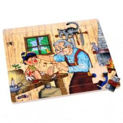 Dřevěné puzzle - Pinochio, 20 dílků