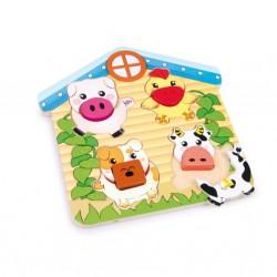 Dřevěné puzzle velké - Domácí zvířátka, 15 dílů