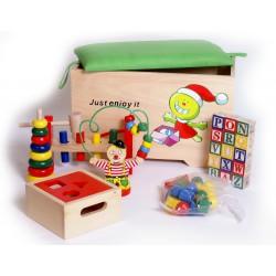 Dřevěná truhla s 6 hračkami