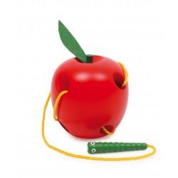 Dřevěná provlékačka - Jablko a červík