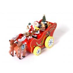 Vánoční dekorace - Hrací skříňka Santa na saních