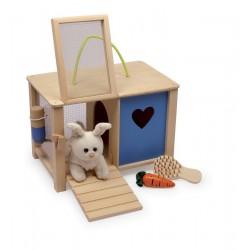Plyšový králík v králíkárně s doplňky