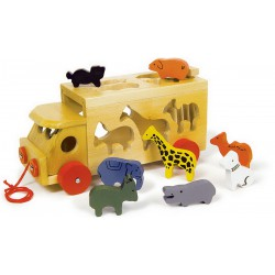 Dřevěná vkládačka Auto se zvířaty ZOO