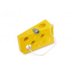 Dřevěná provlékačka Sýr a myš barevná