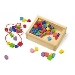 Dřevěné korálky tvary v krabičce