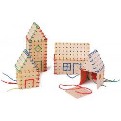 Dřevěná provlékačka - Domečky